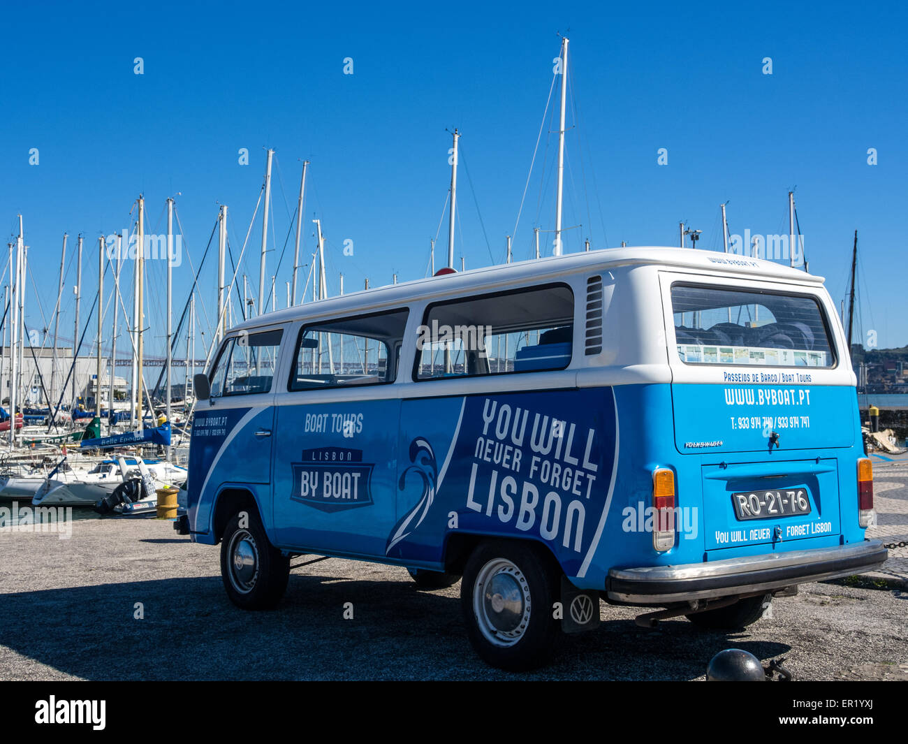 VW Van in Lisbon being used for tourist trips - Stock Image