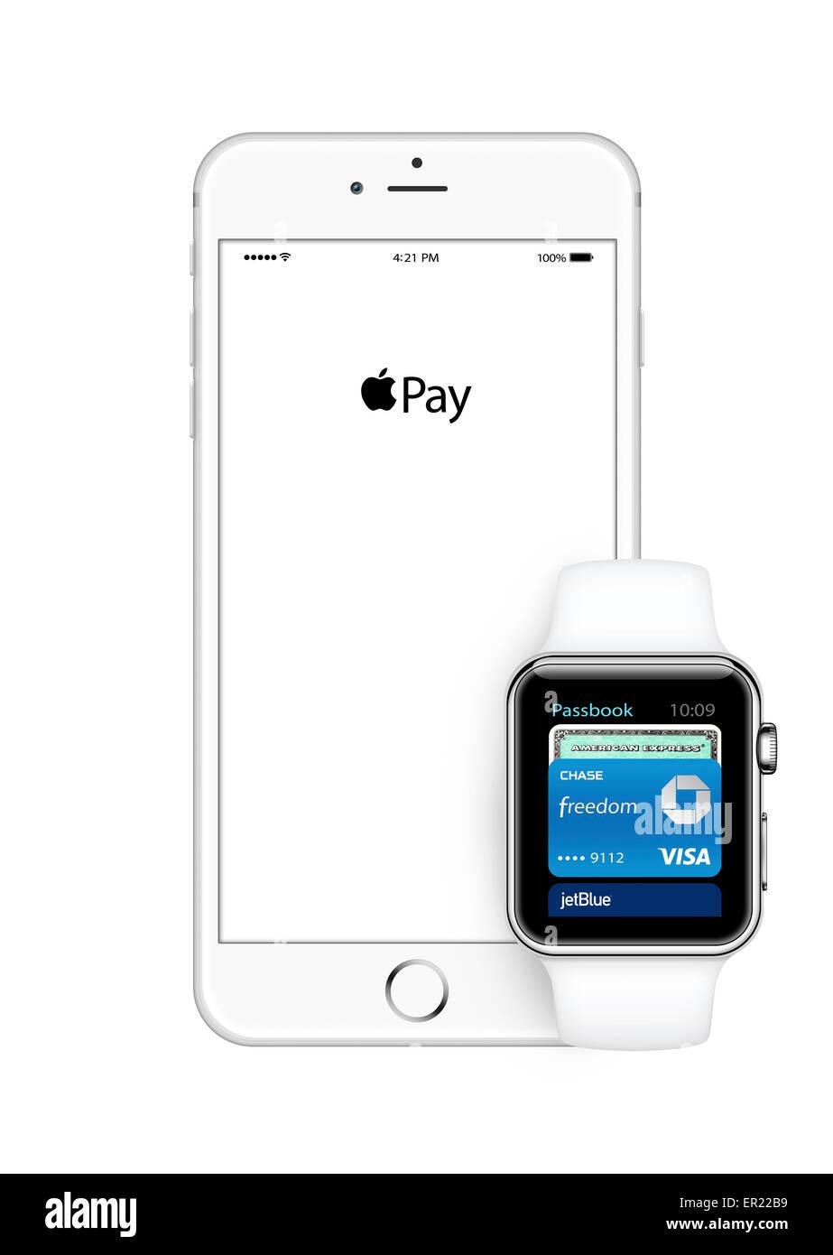 apple watch iphone 6 - Stock Image