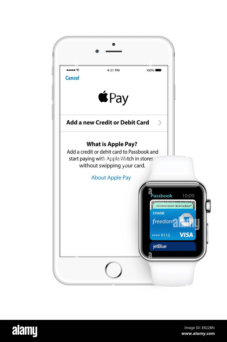 iphone 6 apple watch - Stock Image
