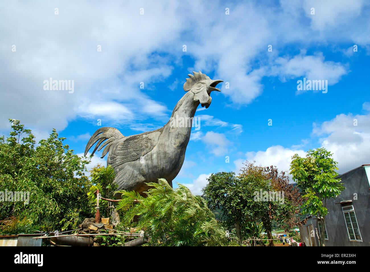 Five metre high statue of a chicken, Lang Con Ga, near Da Lat, Vietnam. Stock Photo