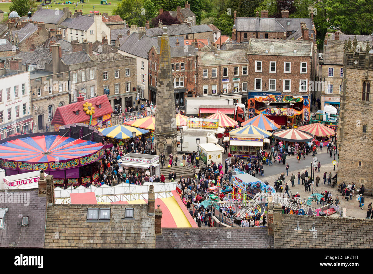 Richmond, North Yorkshire, UK. 25th May, 2015. A Funfair in the market place in the lovely market town of Richmond Stock Photo