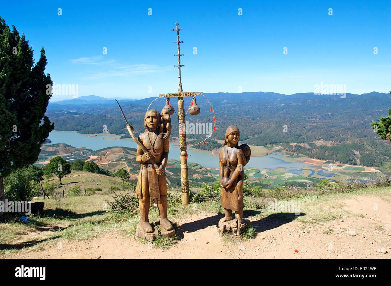 Statues of Lang and Biang, Langbiang mountains, near Da Lat, Vietnam Stock Photo