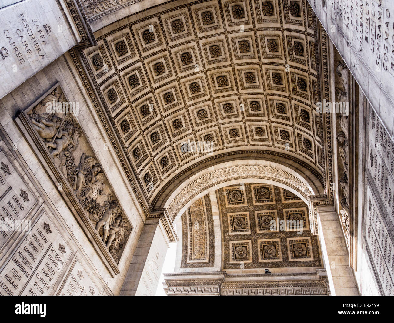Champs Elysees, Paris, Arc de Triomphe historic monument roof detail - grand, neoclassical triumphal arch honouring - Stock Image