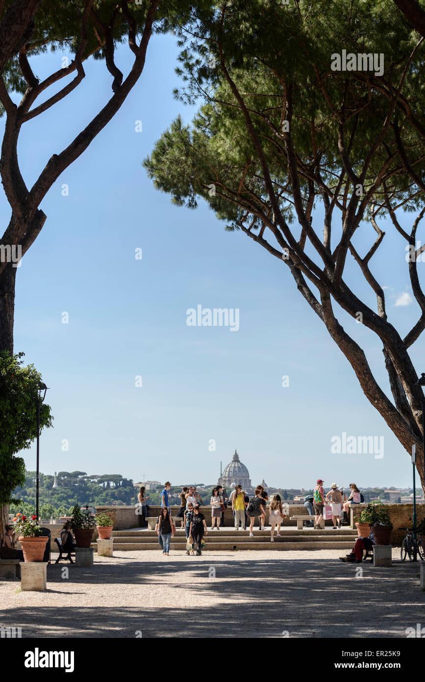 Rome. Italy. The terrace of the Giardino degli Aranci (Parco Savello) on the Aventine hill. - Stock Image