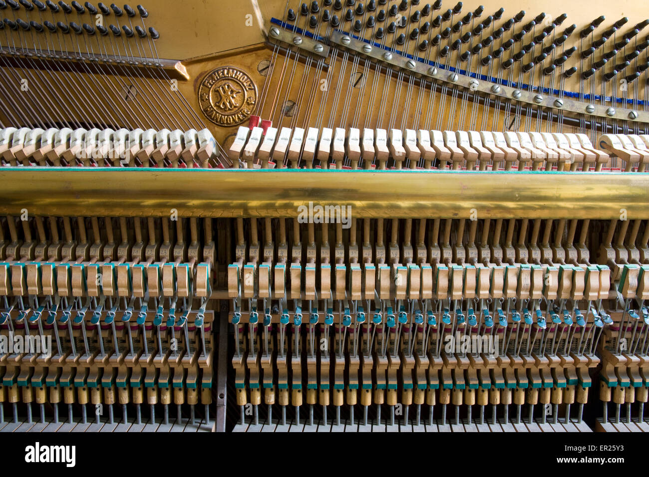 Europe, Germany, opened piano of the manufacturer Helmholz, manufactured in the early 20th century.   Euopa, Deutschland, - Stock Image