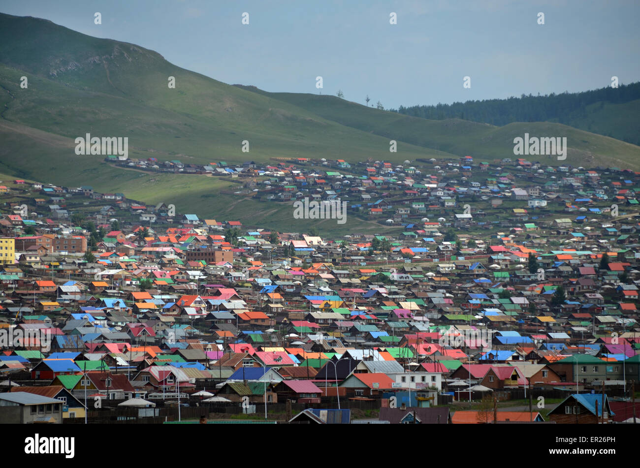 The colored roofs of Erdenet city, in the Bulgan province, northern Mongolia - Stock Image