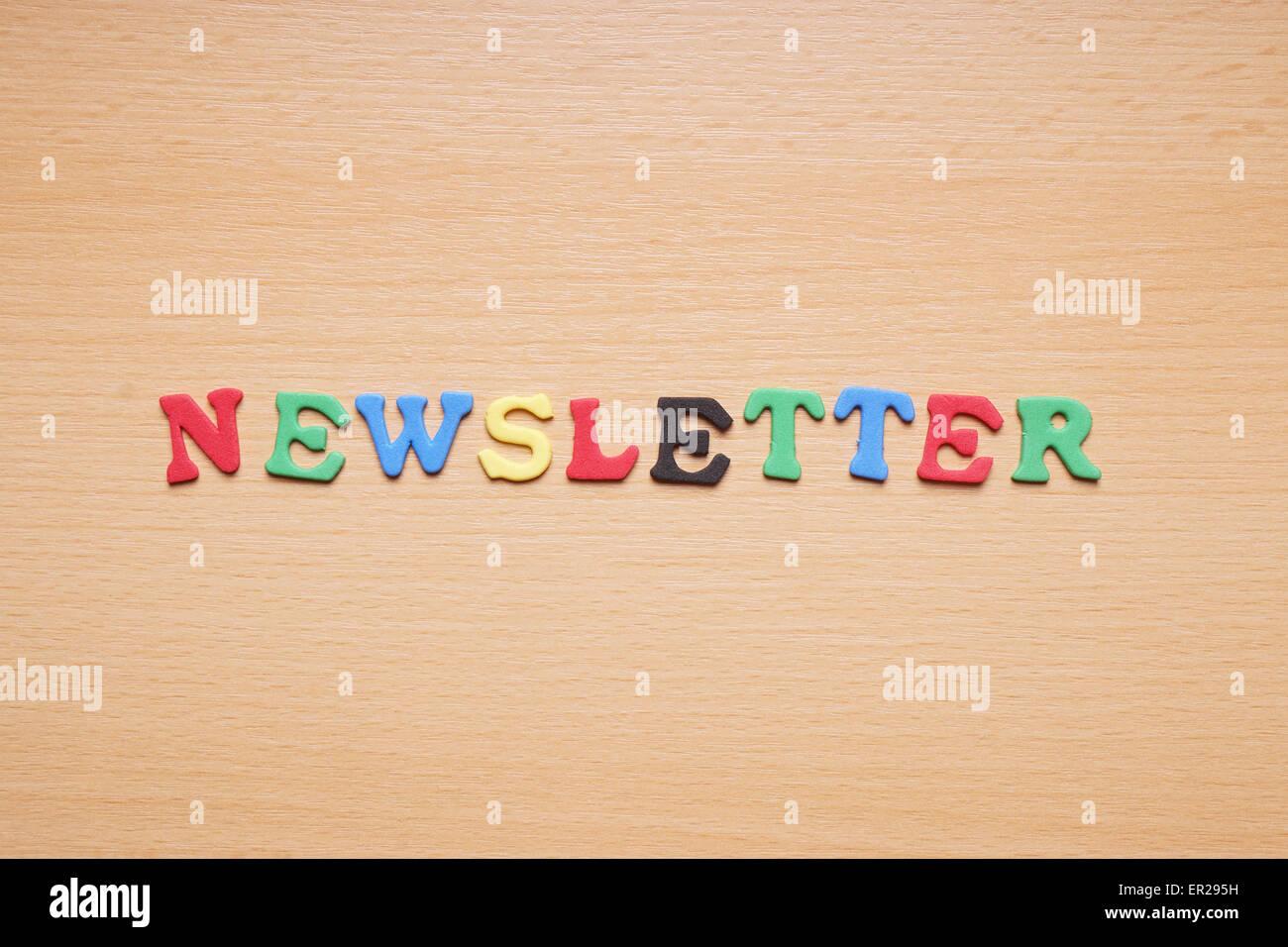 newsletter in foam rubber letters Stock Photo