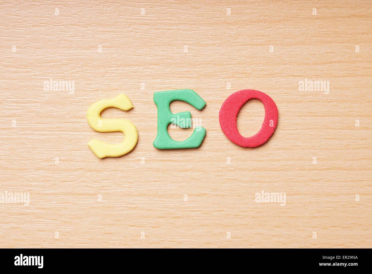 SEO in foam rubber letters - Stock Image