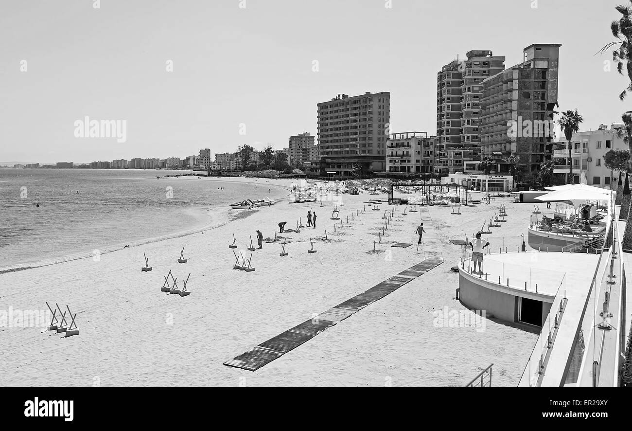 Abandoned hotels and apartments line the beach in Varosha Famagusta since Turkish army invasion 1974 - Stock Image