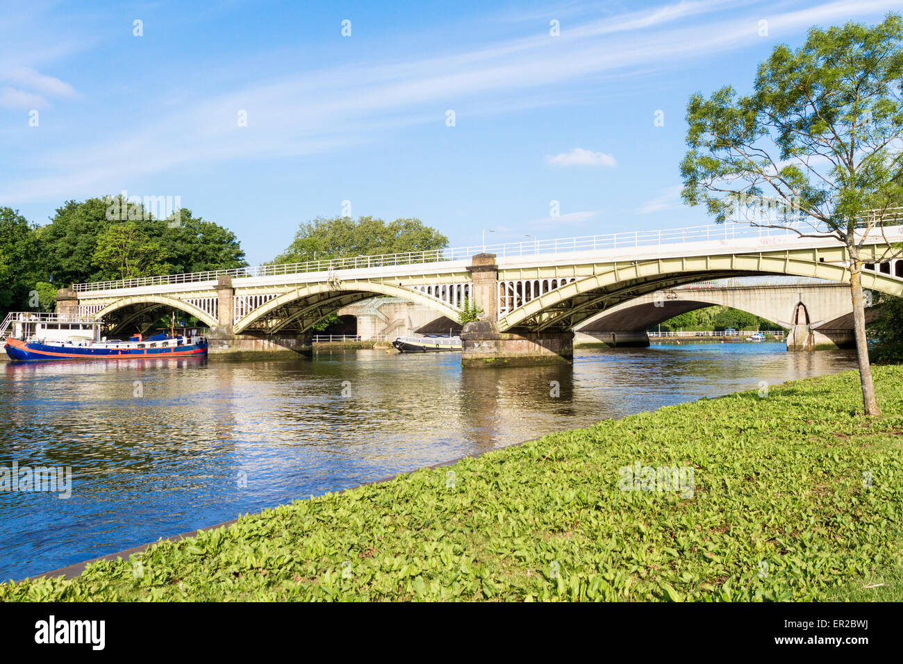 Richmond Railway Bridge and Twickenham Road Bridge in Richmond London Stock Photo