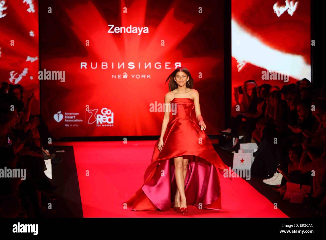 Zendaya wears Rubinsinger at Go Red for Women-The Heart Truth Red Dress Collection at Mercedes-Benz Fashion Week. - Stock Image