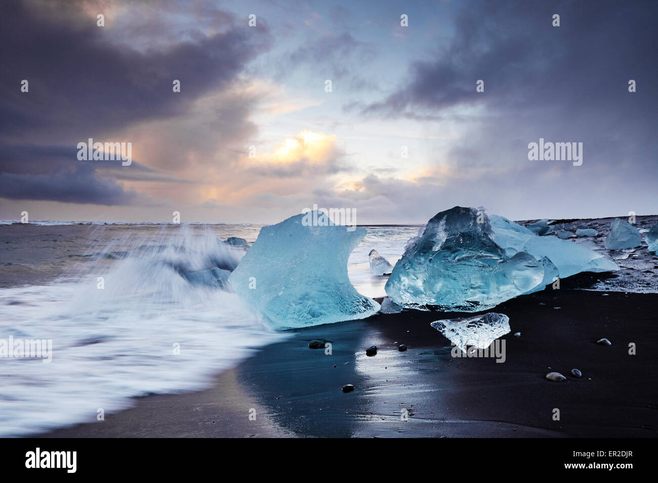 Jokulsarlon Glacier Beach South East Coast Of Iceland Stock Photo