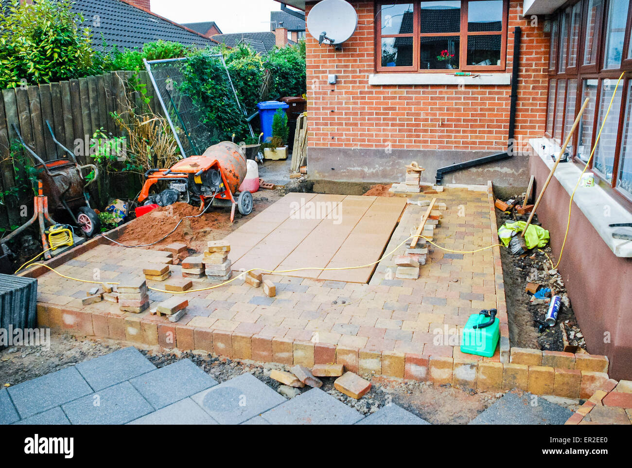 Garden patio under construction. Stock Photo