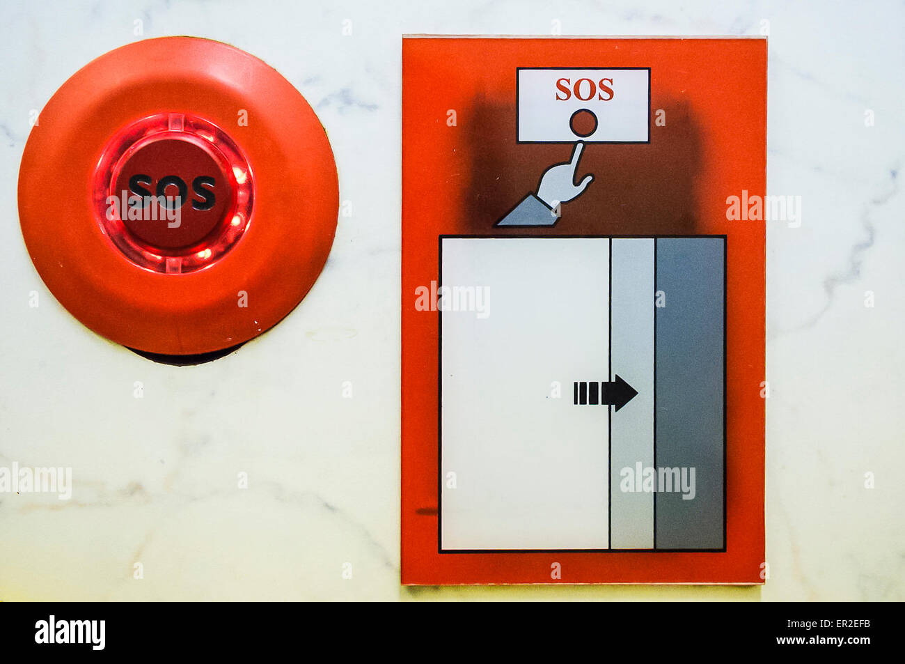 Red SOS emergency call button - Stock Image