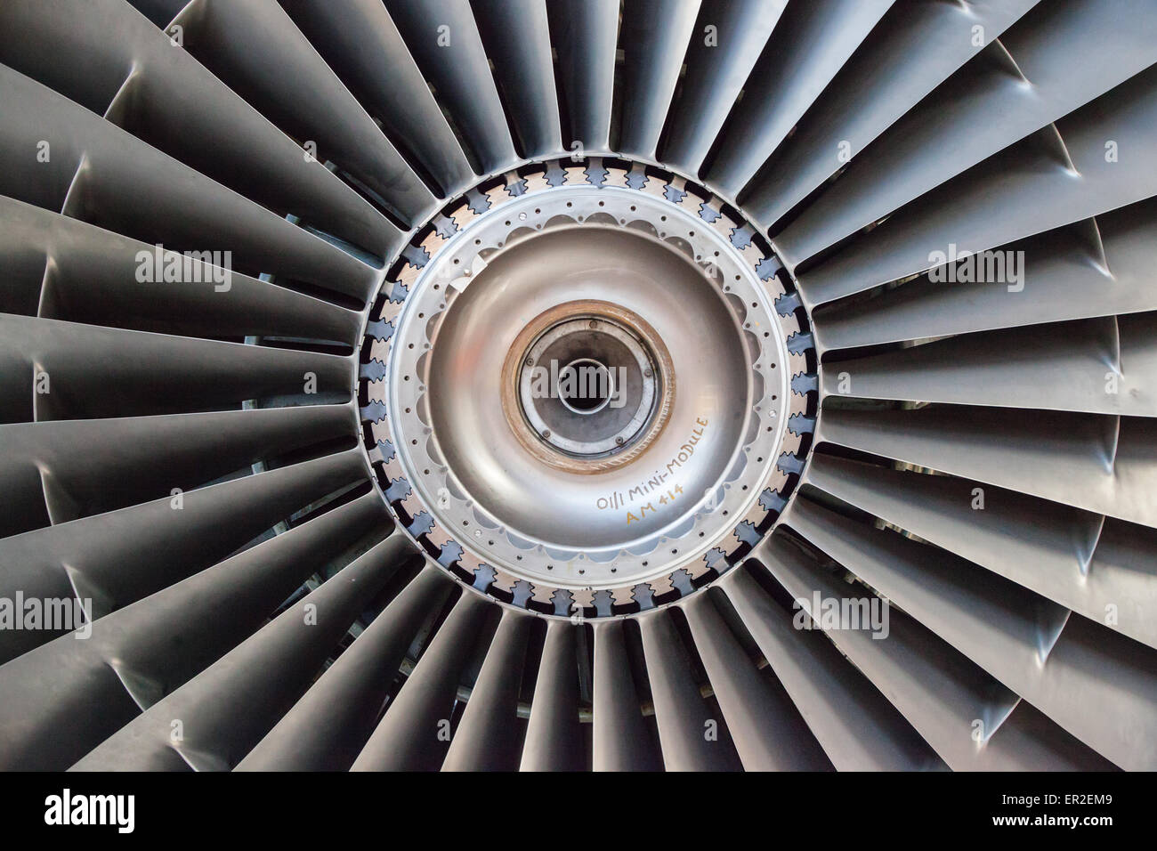 A view of the front fan from a Rolls-Royce RB211 turbofan engine. - Stock Image