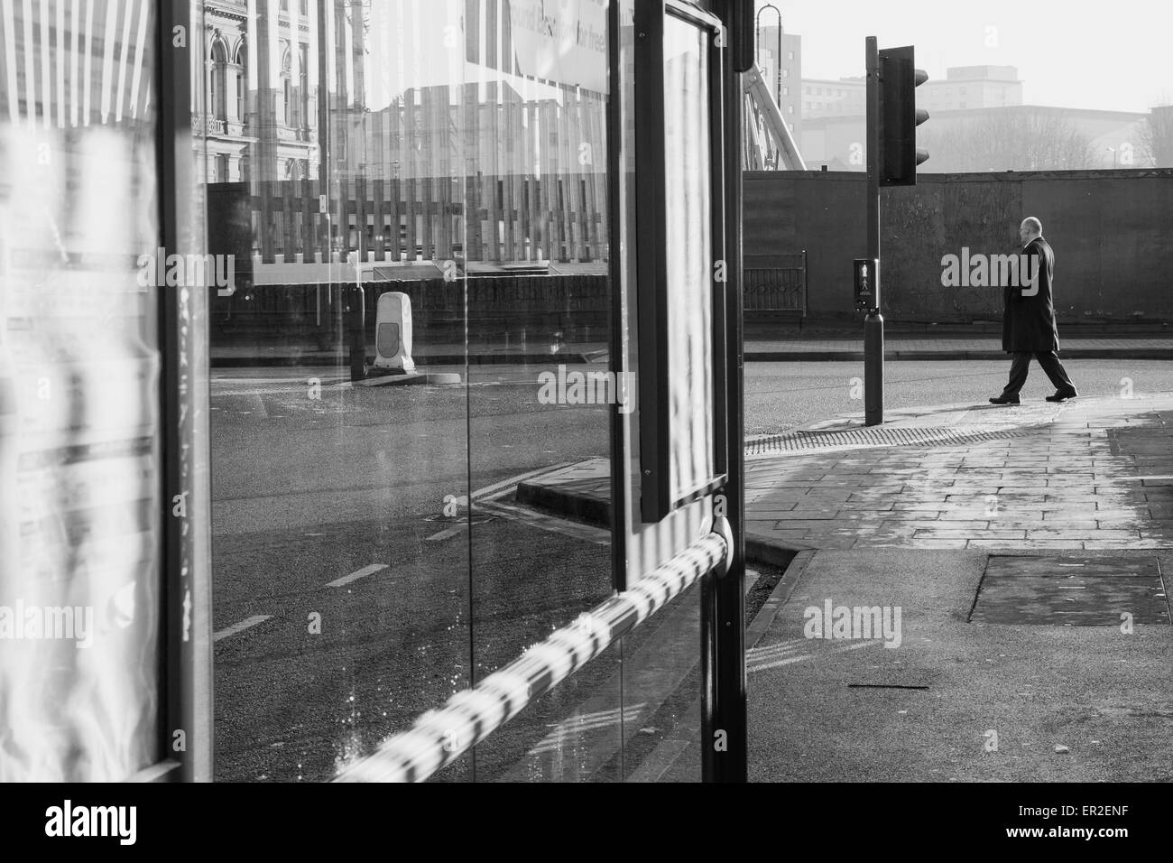 A street view in Bradford, England, looking towards where the new Westfield shopping centre now stands. - Stock Image