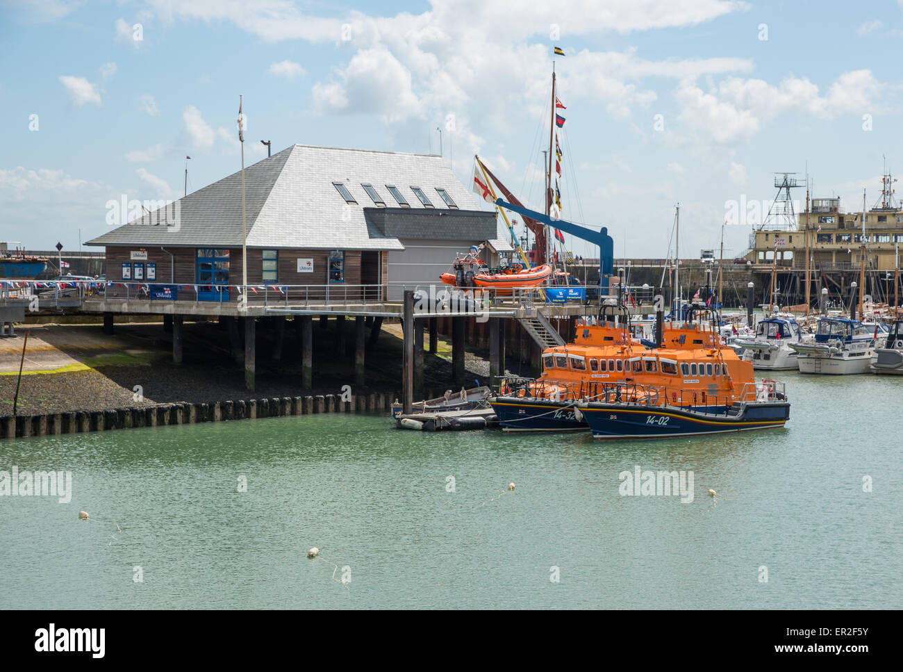 Ramsgate Lifeboat Esme Anderson and relief lifeboat Corinne Whiteley, both Trent Class, at Ramsgate Royal Harbour. - Stock Image