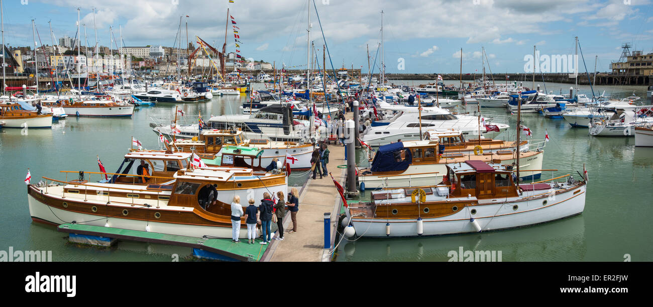 Panoramic view of six Little Ships at Ramsgate for the Dunkirk Evacuation 75th anniversary celebrations - Stock Image