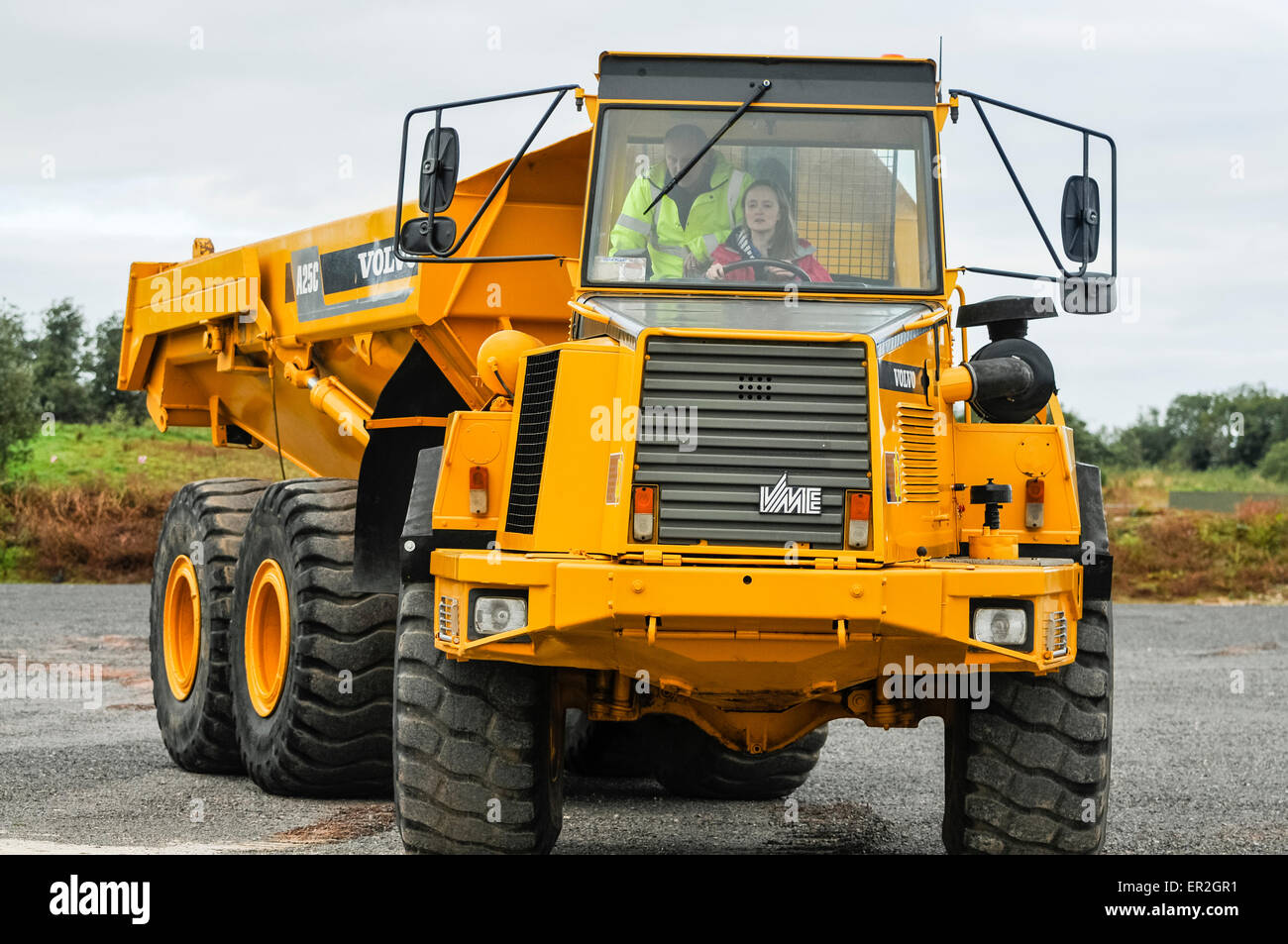 Hauler Stock Photos Images Alamy Volvo A25c Wiring Diagram A Young Girl Drives Large Dumper Truck Image