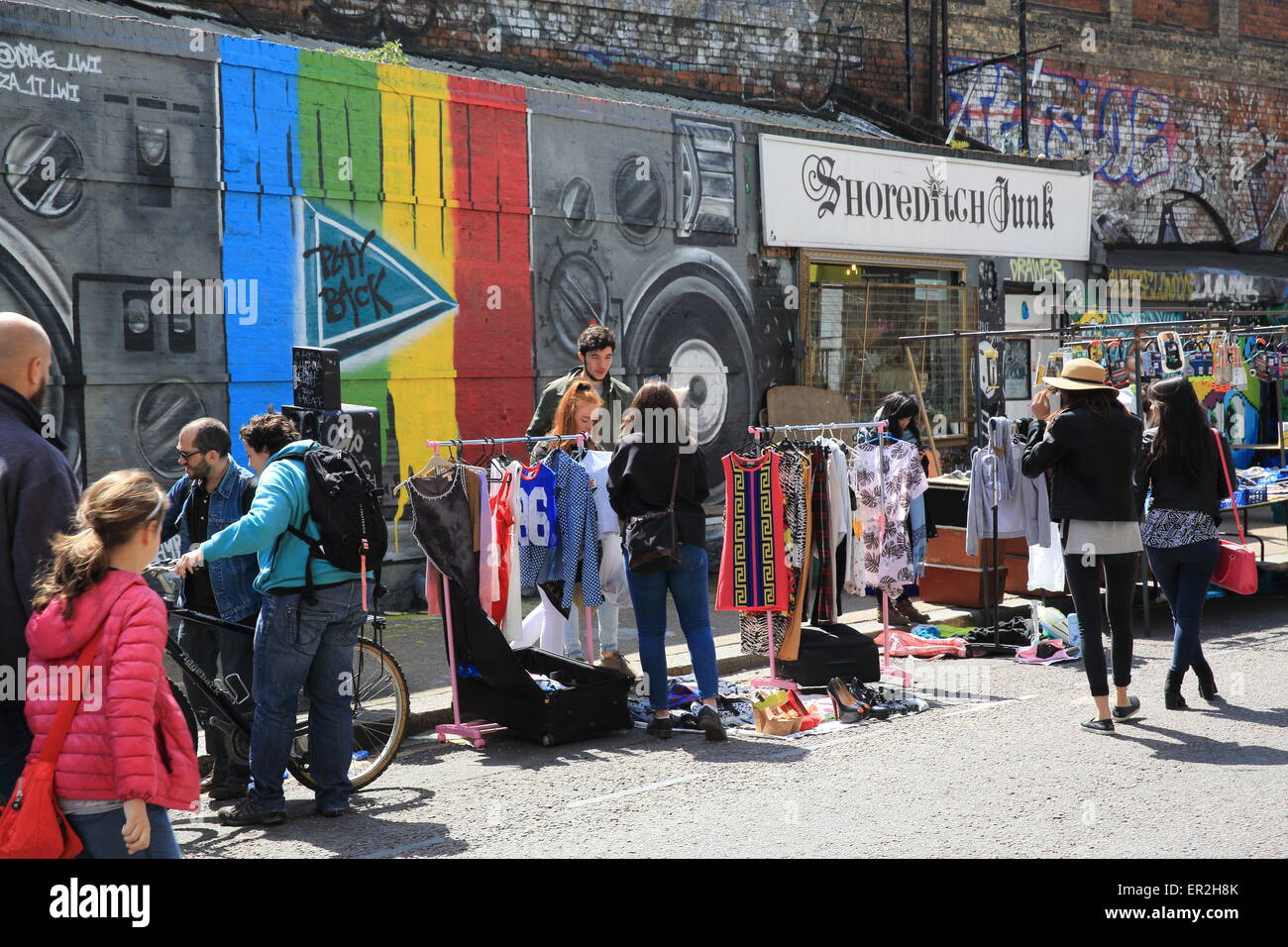 Colourful market stalls in Shoreditch, on Sclater Street, in east London, England, UK - Stock Image