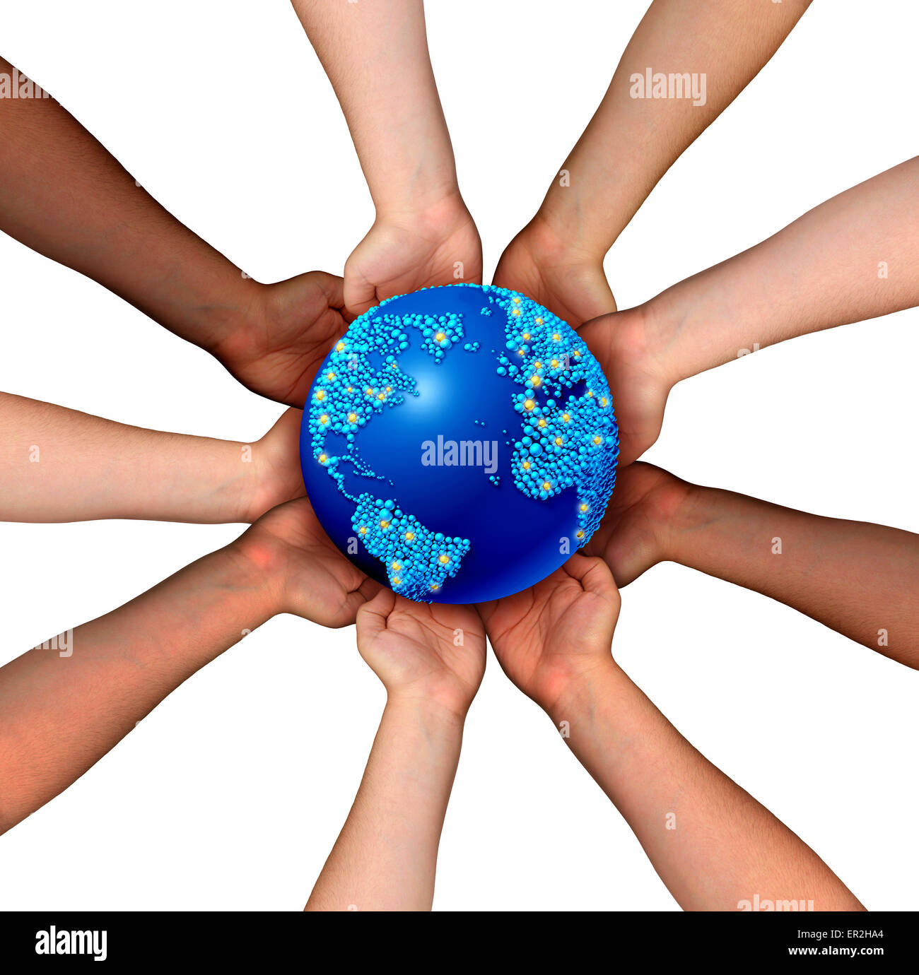 Global connections and globalization concept as a connected business network of multiethnic people holding a world - Stock Image