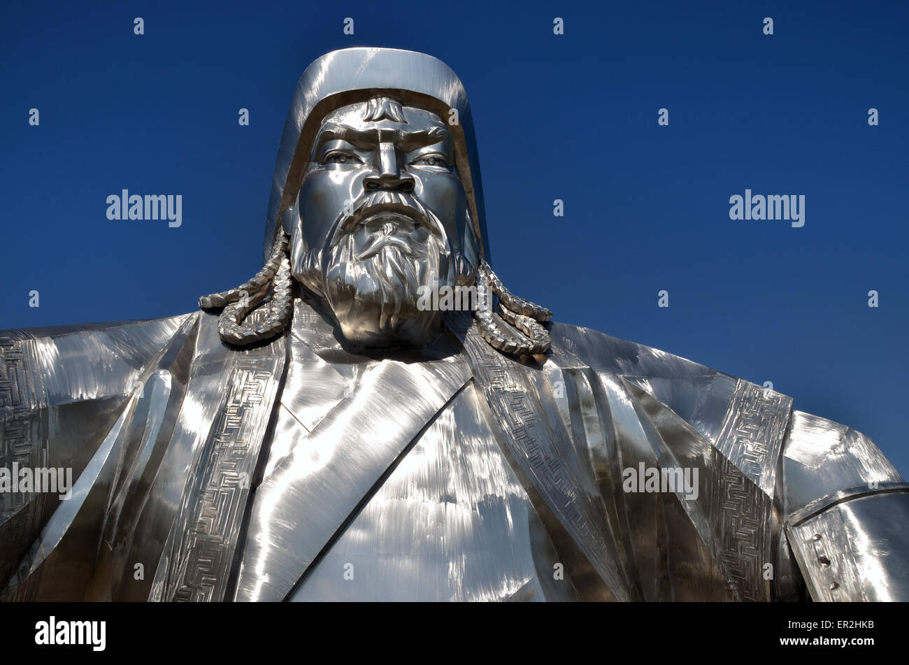 The giant statue dedicated to Genghis Khan, east of Ulan Bator, Tov province. The statue is 40 meters high. - Stock Image