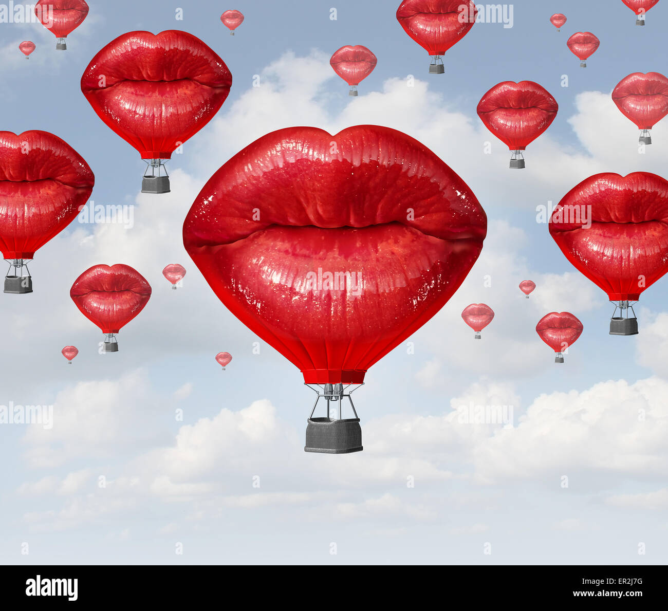 Love balloons as a hot air balloon made of human red lips soaring up to the blue sky as a surreal dreamy romantic - Stock Image