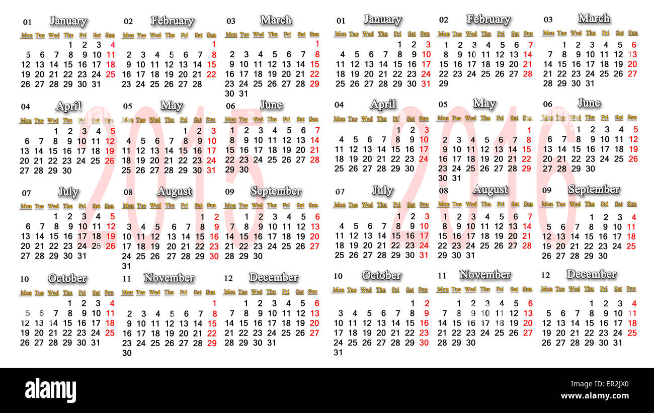 Office Calendar 2016 : Office calendar for  in english stock photo