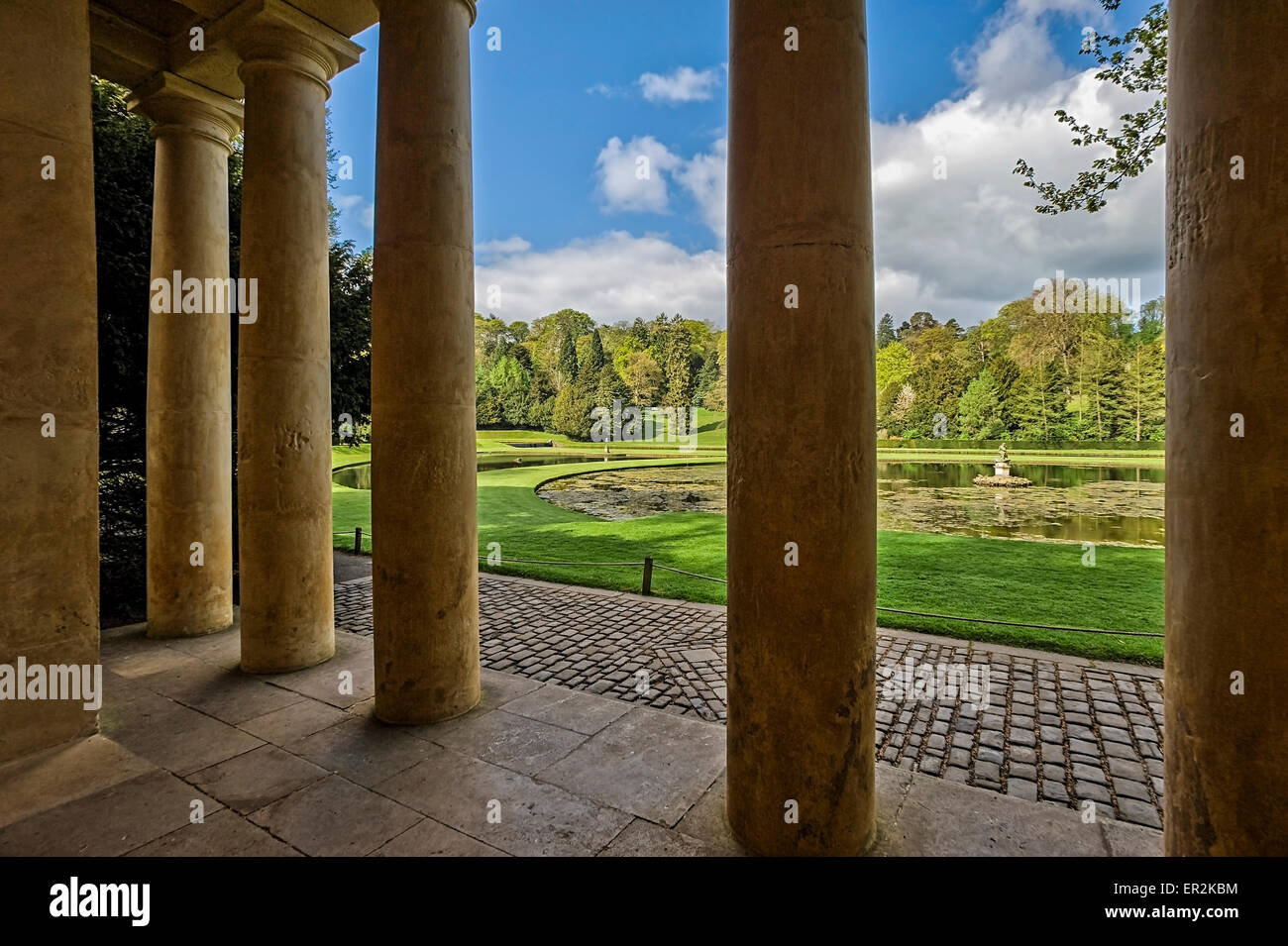 Temple of Piety, Studley Royal landscape gardens, UNESCO World Heritage Site, near Ripon, North Yorkshire, England, - Stock Image
