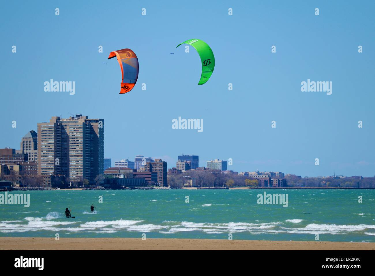 Kitesurfing the breakers at Montrose Beach, Chicago, Illinois - Stock Image