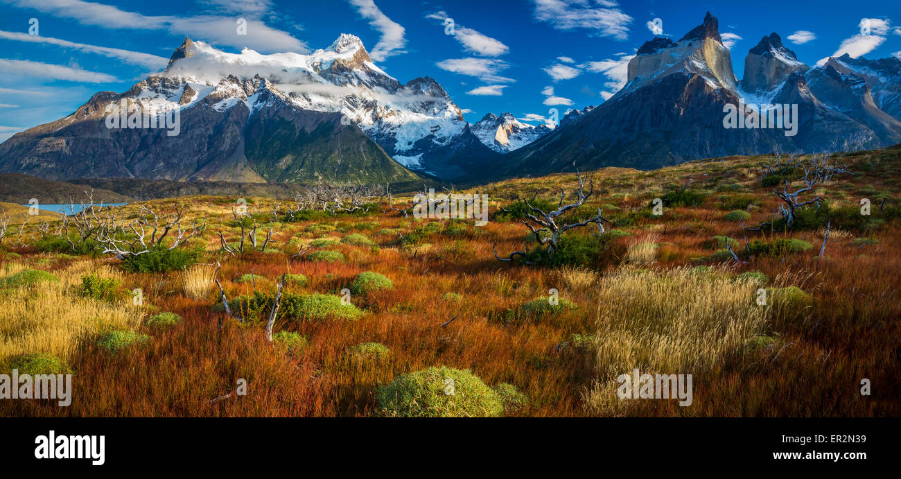 Los Cuernos towering above Lago Nordenskjold, Torres del Paine, Chilean Patagonia - Stock Image