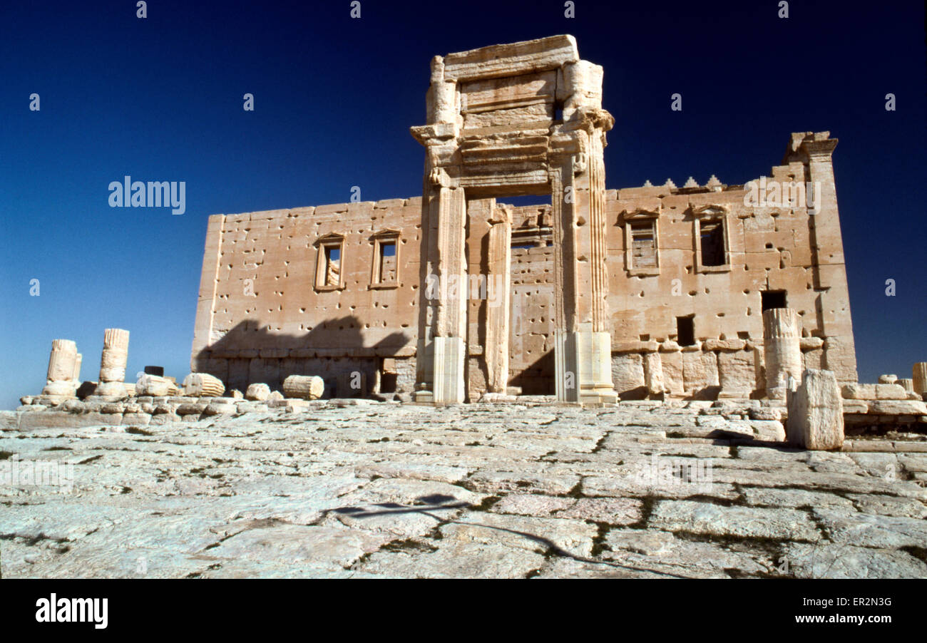 The Temple of Bel at Palmyra in Syria, western gate. Palmyra was occupied by the Romans in the second and third - Stock Image