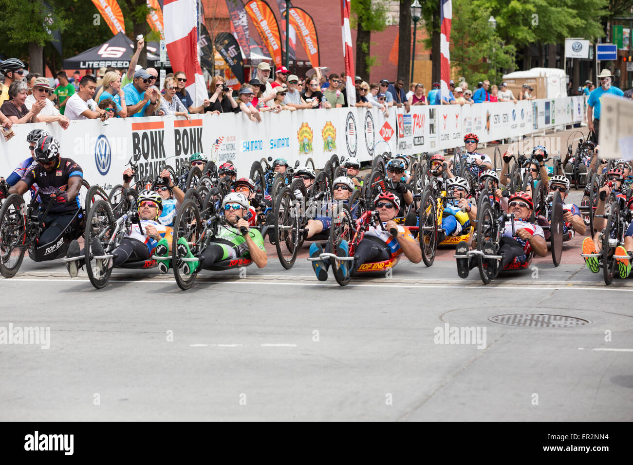 Chattanooga, Tennessee, USA.  25th May, 2015. Cyclists with disabilities begin the 2015 USA Cycling National Championship Stock Photo