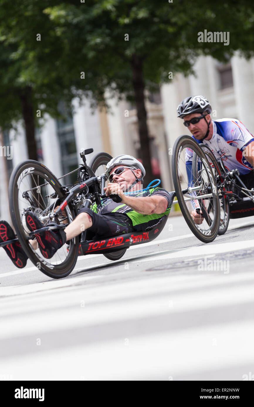 Chattanooga, Tennessee, USA.  25th May, 2015. Cyclists with disabilities compete in the 2015 USA Cycling National Stock Photo