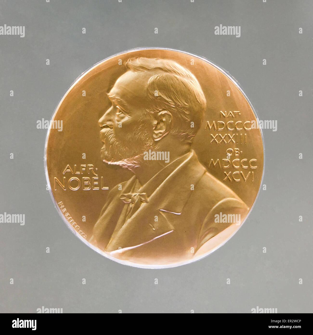 Nobel prize medal - Stock Image