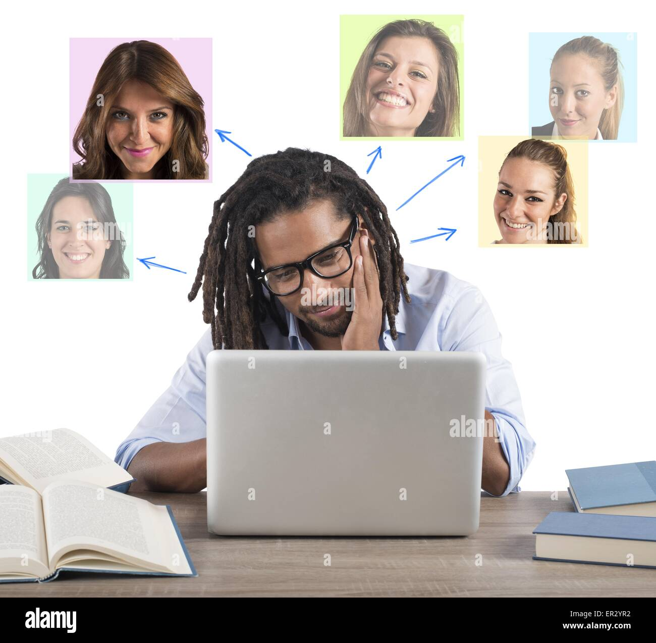 Man chat with girls Stock Photo