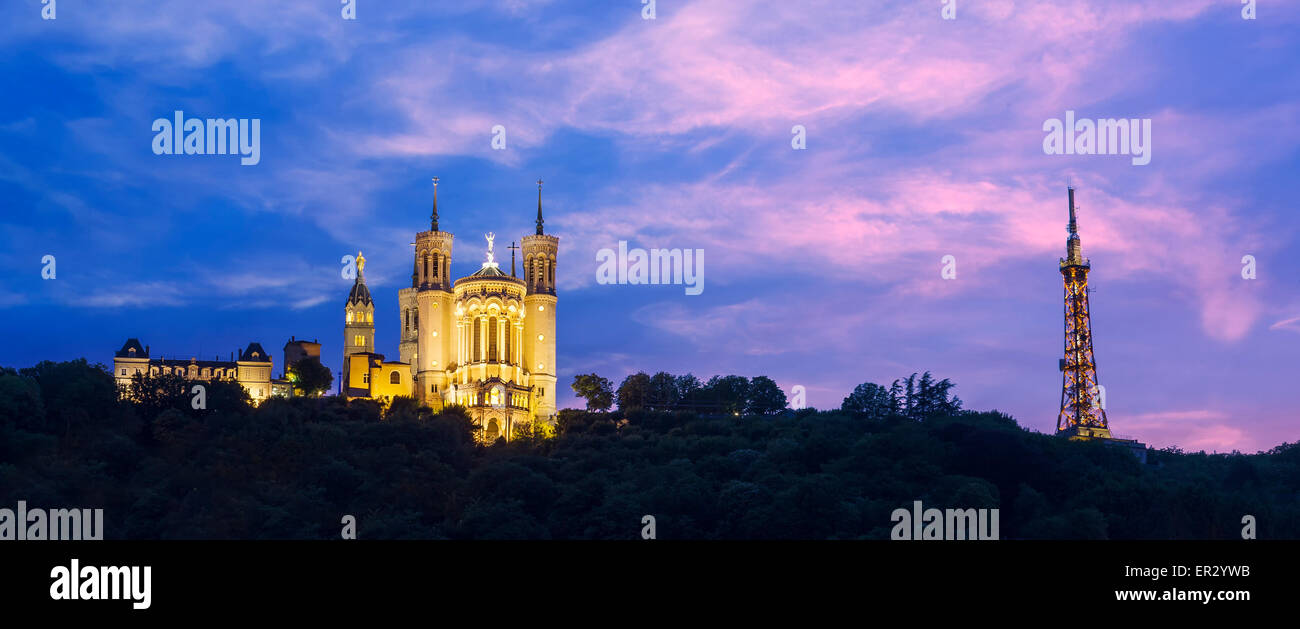 Blue hour on the cathedral Fourviere to Lyon city, France - Stock Image
