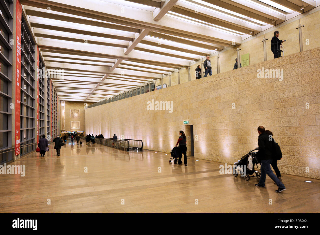 TEL AVIV, ISR - MAR 20 2015:Passengers in Ben Gurion Airport, Israel.The airport has been the target of several - Stock Image