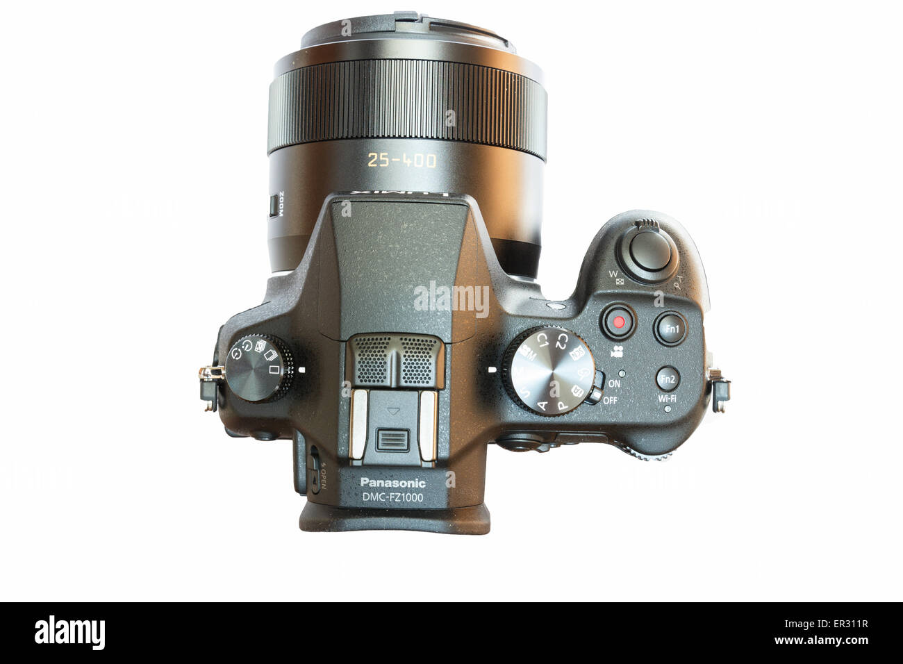 Chiang Mai, Thailand - May 14, 2015: Panasonic Lumix DMC- FZ1000 bridge digital camera isolated on white background - Stock Image