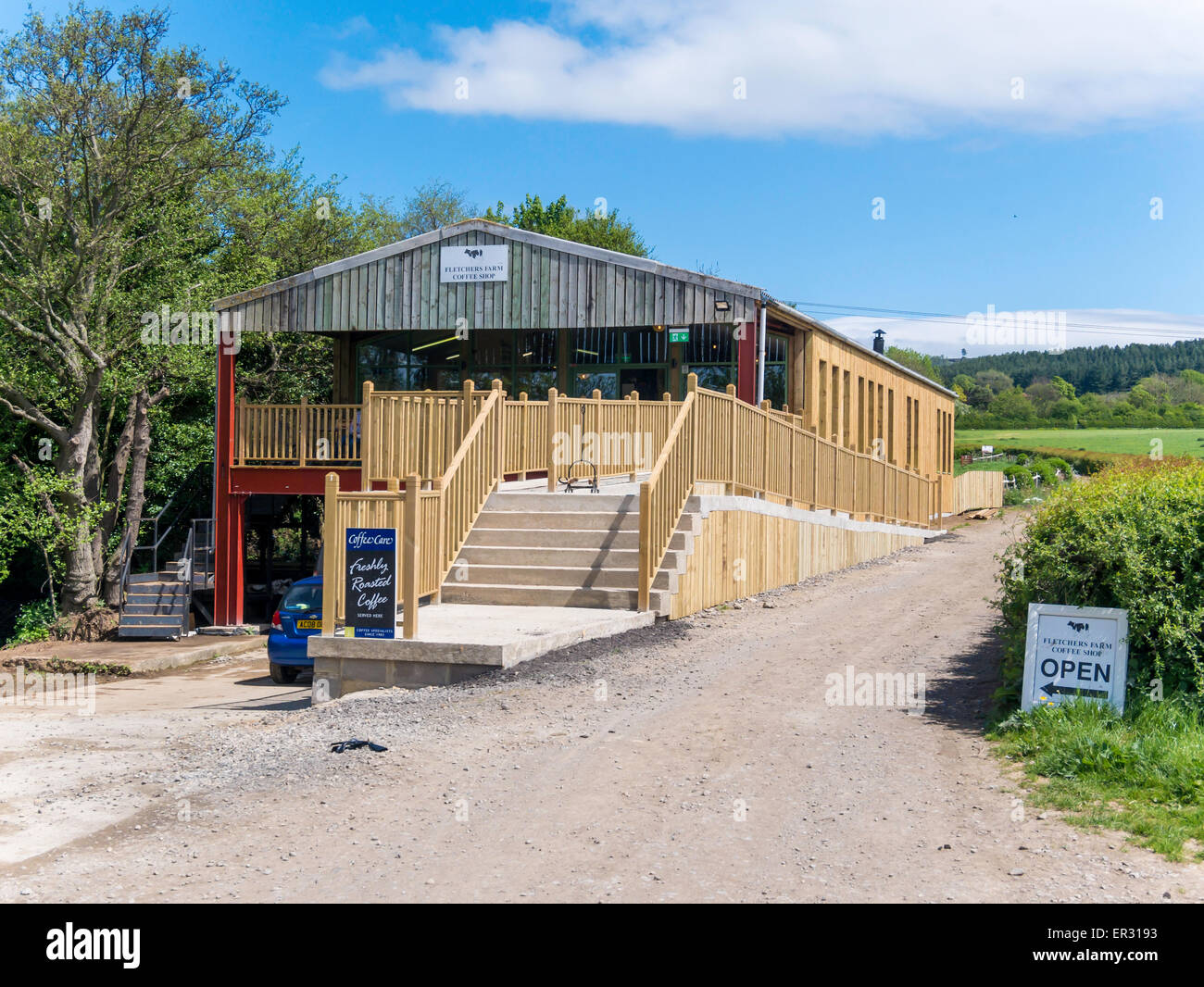 Fletcher's Farm café' newly opened in 2015, to supplement the main business of Dairy Farming and a campsite. - Stock Image