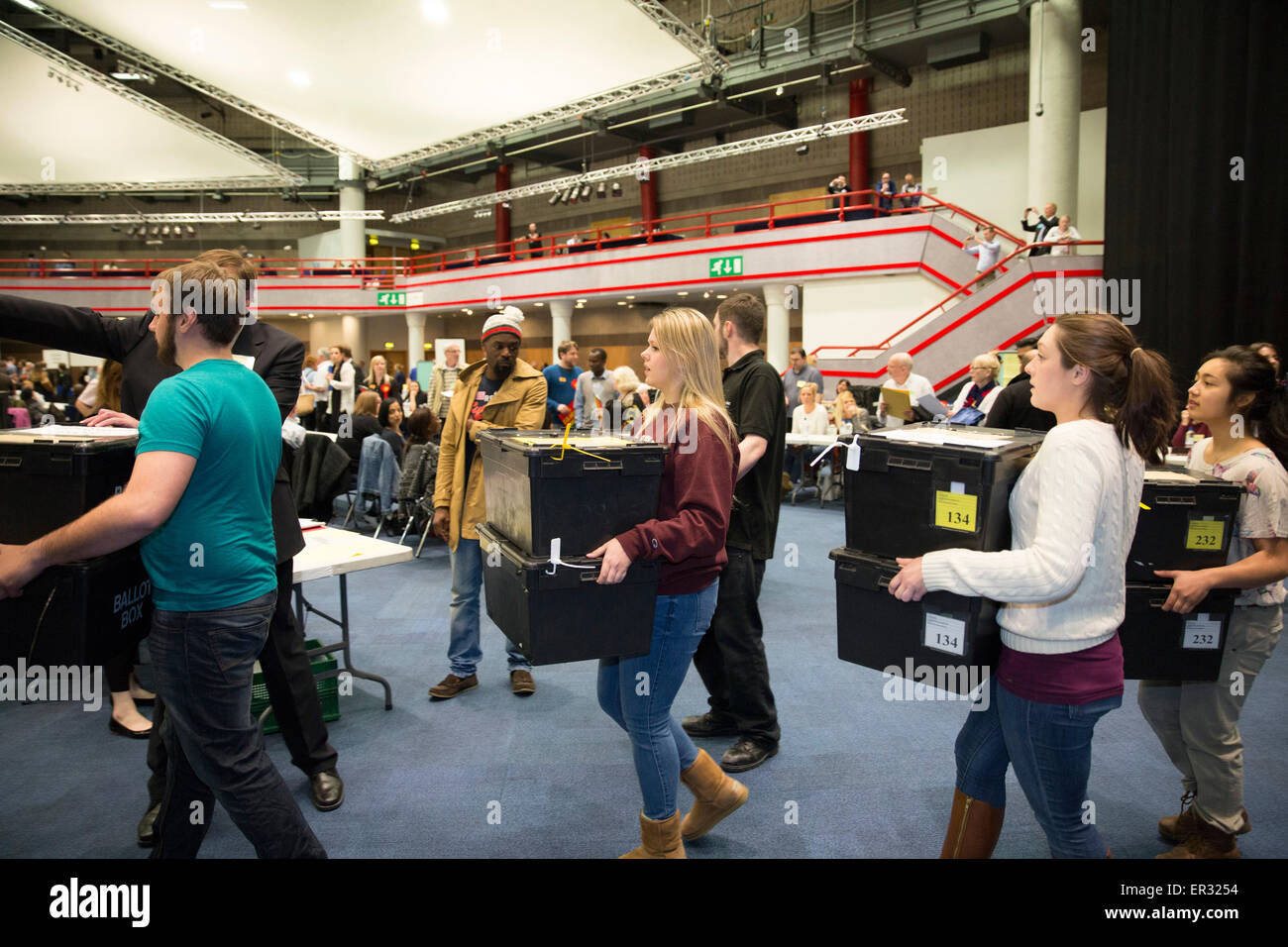 Ballot boxes arriving for counting to take place at the ICC in Birmingham for the General Election 2015 - Stock Image