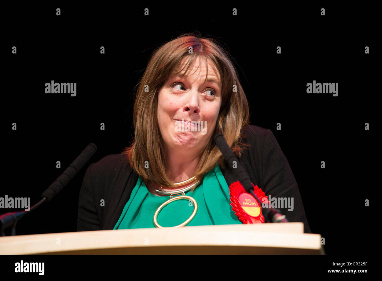 Jess Phillips pictured winning her seat for Birmingham Yardley at the General Election count in 2015 - Stock Image