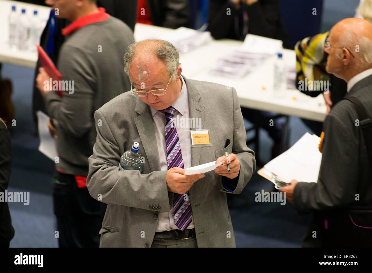 Liberal Democrat John Hemming pictured centre, at the General Election count at the ICC Birmingham where he lost - Stock Image