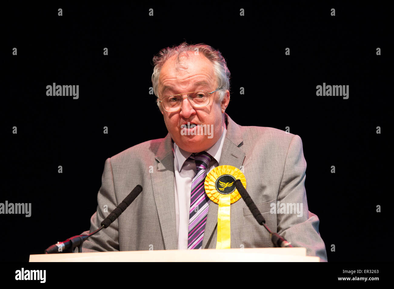 Liberal Democrat John Hemming pictured at the General Election count at the ICC Birmingham where he lost his seat. - Stock Image