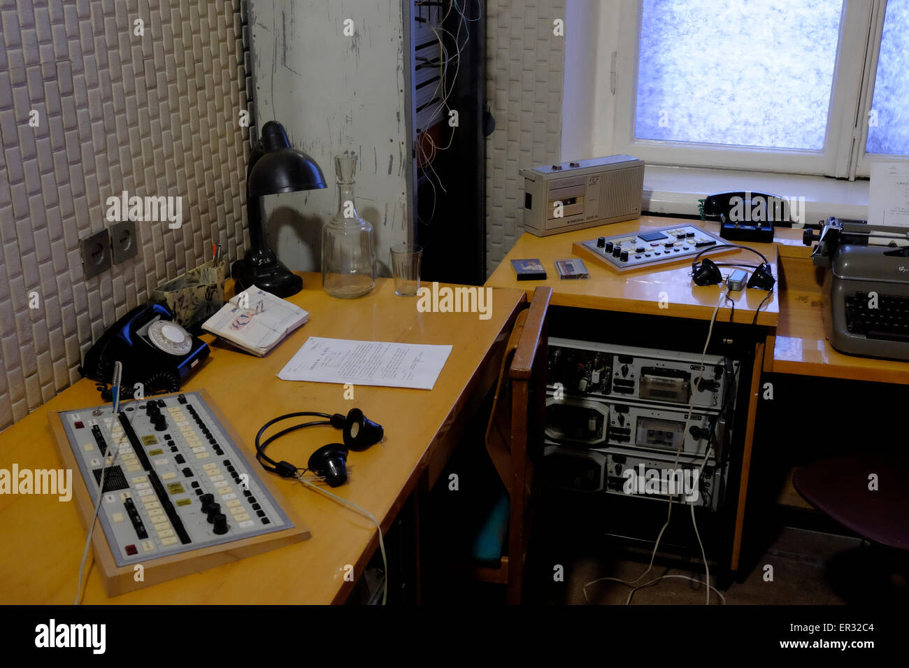 The listening room at the former KGB headquarters and prison now the museum of Genocide Victims in the city of Vilnius - Stock Image