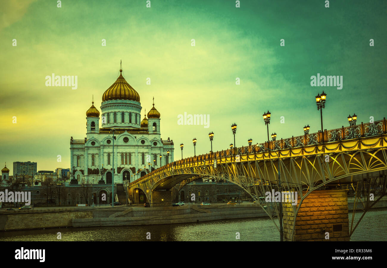Retro style image of The Cathedral of Christ the Saviour in Moscow, Russia - Stock Image