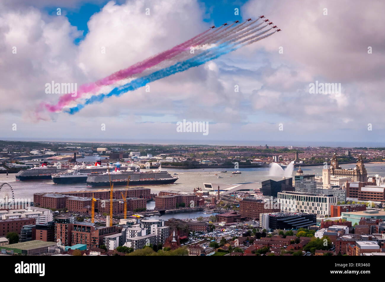 Cunard Three Queens cruise liners together in the River Mersey to celebrate Cunard's 175th Anniversary with - Stock Image