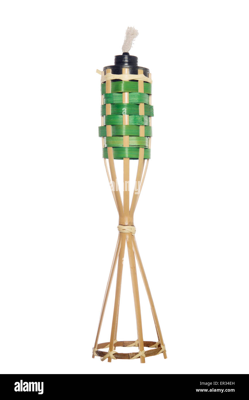 Bamboo torch lamp isolated on white background. - Stock Image