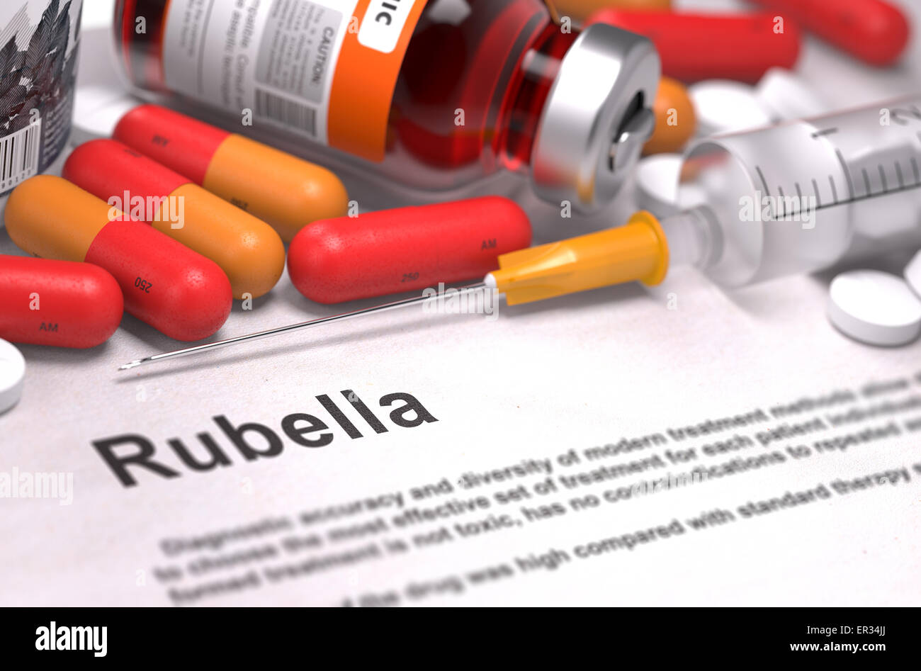 Diagnosis - Rubella. Medical Concept. Stock Photo