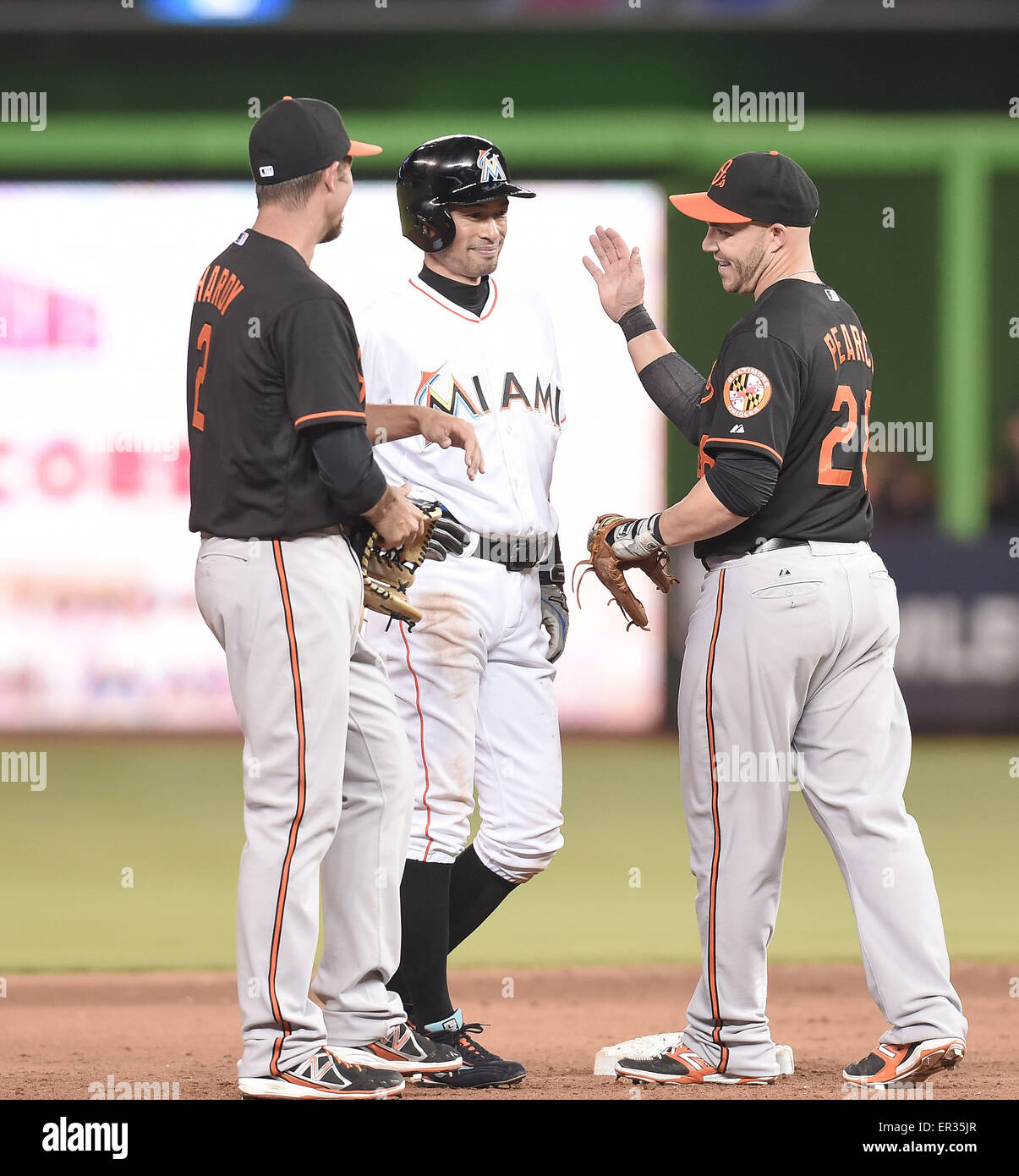 Miami, Florida, USA. 22nd May, 2015. (L-R) J.J. Hardy (Orioles), Ichiro Suzuki (Marlins), Steve Pearce (Orioles) - Stock Image